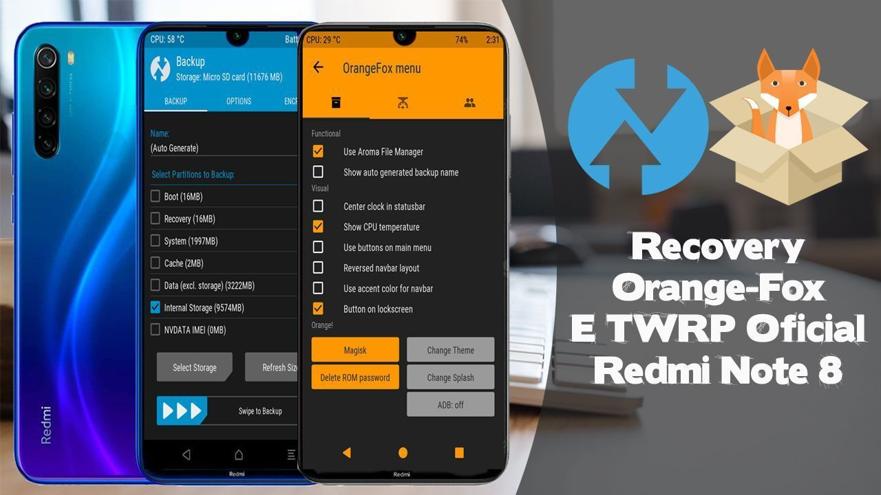 Recovery TWRP Oficial e Orange Fox Pro Redmi Note 8